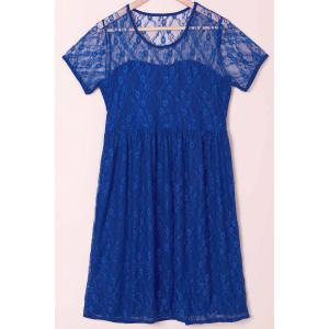 Sexy Scoop Collar Short Sleeve See-Through Solid Color Women's Lace Dress