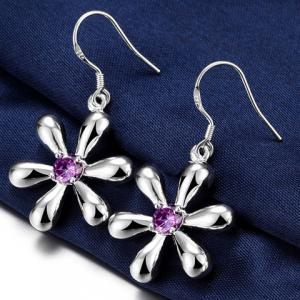 Pair of Alloy Faux Amethyst Blossom Earrings -