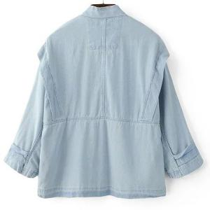 Stand Collar 3/4 Sleeves Jean Jacket - LIGHT BLUE S