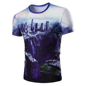 The Fall of the City 3D Print Round Neck Short Sleeve T-Shirt For Men - Colormix - 2xl