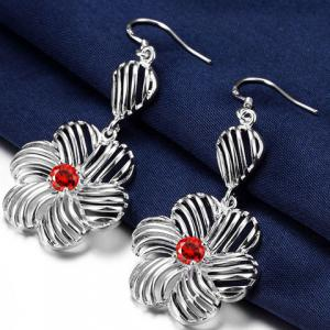 Pair of Blossom Rhinestone Hollow Out Earrings -