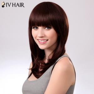 Charming Siv Hair Natural Straight Full Bang Women's Human Hair Wig -