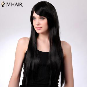 Charming Siv Hair Long Straight Oblique Bang Women's Human Hair Wig