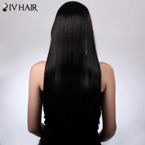 Charming Siv Hair Long Straight Oblique Bang Women's Human Hair Wig - BLONDE
