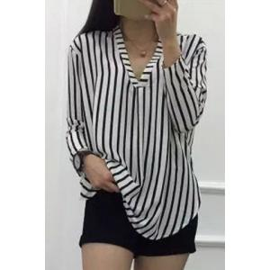 V-Neck Long Sleeves High Low Boyfriend Shirt