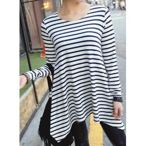 Stylish Round Neck Long Sleeve High-Low Hem Striped T-Shirt For Women