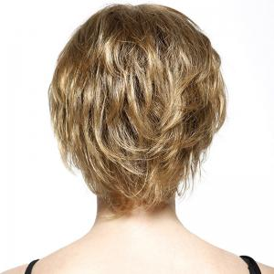 Fluffy Short Layered Natural Straight Fashion Side Bang Capless Human Hair Wig For Women -