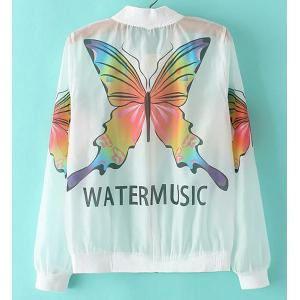 Fashionable Stand Collar Long Sleeve Butterfly Print See-Through Jacket For Women -