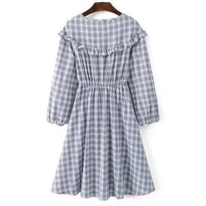 Sweet Jewel Neck Long Sleeves Checkered Flare Dress For Women -
