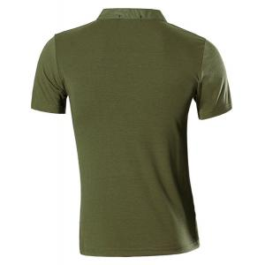 Stand Collar Spliced Design Buttons Short Sleeve T-Shirt For Men -