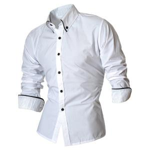 Turn-Down Collar Button-Down Stripe Hemming Design Long Sleeve Shirt For Men - WHITE M
