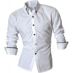 Turn-Down Collar Button-Down Stripe Hemming Design Long Sleeve Shirt For Men