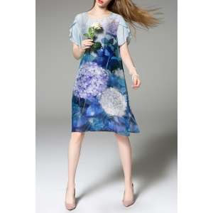 Floral Print Knee Length Dress with Tank Top -