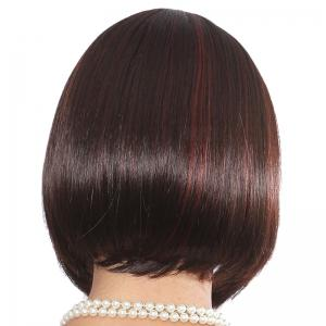 Elegant Straight Side Bang Bob Style Short Capless Human Hair Wig For Women -