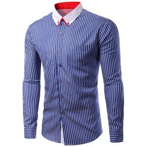 Turn-Down Collar Vertical Stripe Long Sleeve Shirt For Men