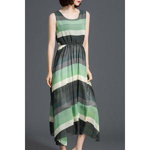 Bohemian Scoop Neck Sleeveless Striped Hit Color Women's Dress -