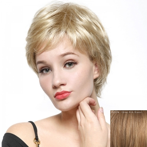 Fashion Fluffy Natural Wave Capless Human Hair Short Wig - Brown With Blonde