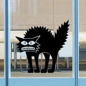 Fashion Horror Black Cat Pattern Wall Sticker For Bedroom Livingroom Decoration - BLACK