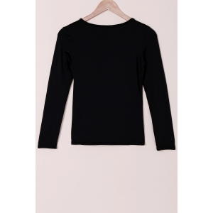 Stylish Round Collar Voile Splicing Slimming Long Sleeve Women's T-Shirt -