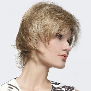 Ladylike Multicolor Short Capless Towheaded Straight Capless Human Hair Wig For Women -