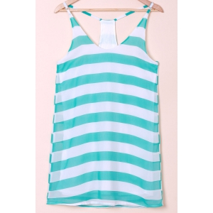 Casual Scoop Collar Sleeveless Color Block Striped Women's Sundress - Blue And White - Xl
