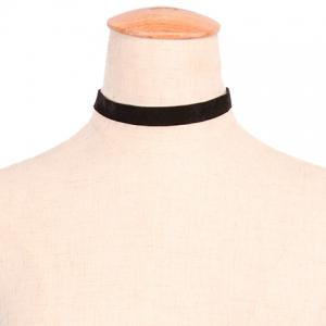 Simple Style Solid Color Cloth Choker Necklace For Women - BLACK