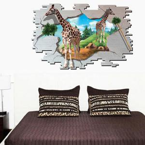 3D Giraffe Animal Broken Wall Stickers For Kids Room - COLORMIX