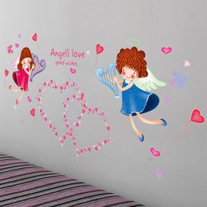 Sweet Heart Angle Pattern Wall Stickers For Girl Bedrooms - COLORMIX