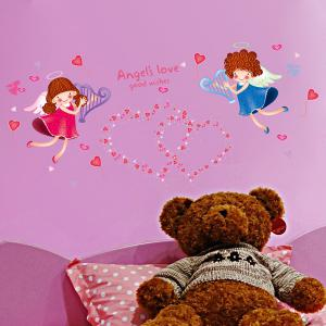 Sweet Heart Angle Pattern Wall Stickers For Girl Bedrooms -