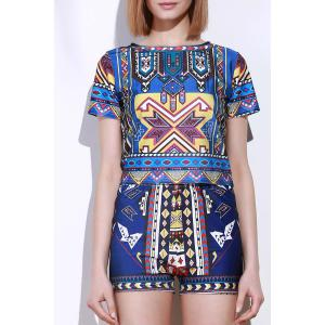 Vintage Geometric Printed Short T-Shirt+High Waist Shorts Twinset For Women - Colormix - Xl