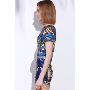 Vintage Geometric Printed Short T-Shirt+High Waist Shorts Twinset For Women - COLORMIX S