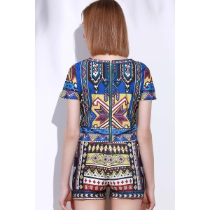 Vintage Geometric Printed Short T-Shirt+High Waist Shorts Twinset For Women -