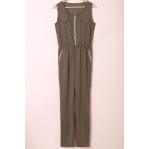 Stylish U Neck Sleeveless Solid Color Low-Cut Women's Jumpsuit - Army Green - Xl