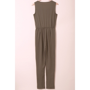 Stylish U Neck Sleeveless Solid Color Low-Cut Women's Jumpsuit - ARMY GREEN M