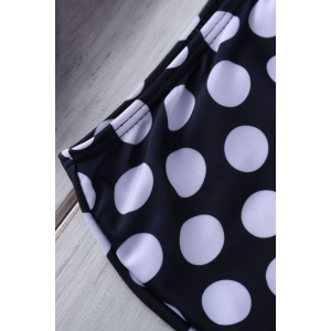 Bustier Bikini Top and Polka Dot High Waisted Bottoms - AS THE PICTURE S