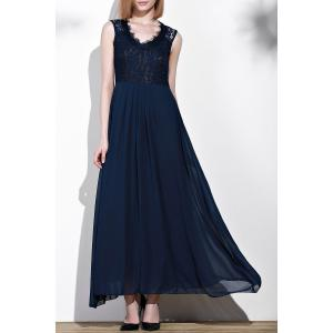 Sleeveless Lace Trim Maxi Evening Dress