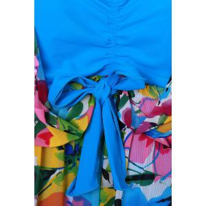 Graceful Plunging Neck One-Piece Floral Print Asymmetrical Swimwear For Women -