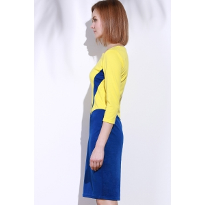 Elegant Square Neck 3/4 Sleeve Color Block Zippered Women's Dress -