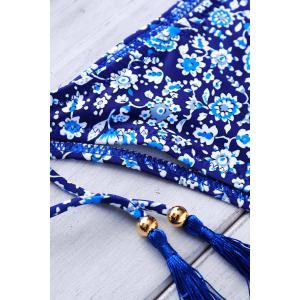 Attractive Floral Printed Halter Crochet Bikini Set For Women - DEEP BLUE S