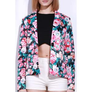 Lapel Long Sleeve Floral Print Blazer