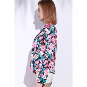 Lapel Long Sleeve Floral Print Blazer -