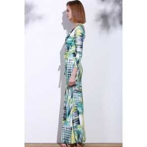 Graceful Plunging Neck 3/4 Sleeve Geometric Printed Maxi Dress For Women -