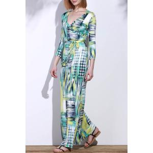 Graceful Plunging Neck 3/4 Sleeve Geometric Printed Maxi Dress For Women