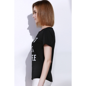 Casual Round Collar Letter Print Short Sleeve T-Shirt For Women -