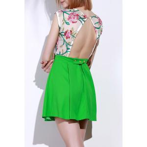 Chic Round Collar Sleeveless Flower Pattern See-Through Women's Dress