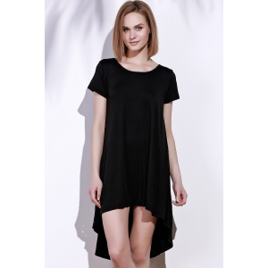 Simple Style Black Round Collar Loose Irregular Dress For Women -