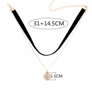 Double Layered Rhinestone Hollow Out Round Pendant Chokers Necklace -