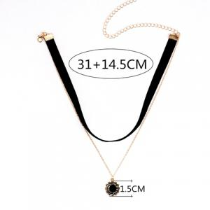 Double Layered Letter Cameo Sunflower Pendant Chokers Necklace - BLACK