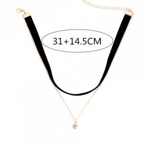 Double Layered Round Rhinestone Pendant Chokers Necklace -