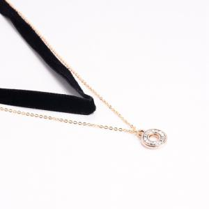 Double Layered Rhinestone Hollow Circle Pendant Chokers Necklace - BLACK